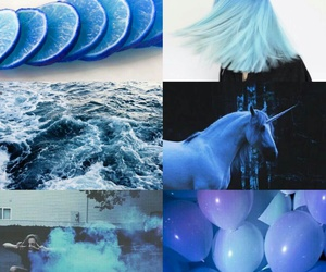 baloon, blue, and ocean image