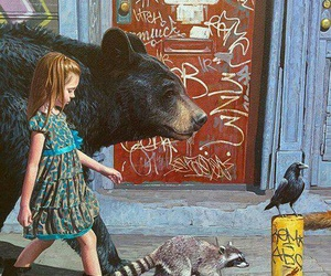 girl, art, and animal image
