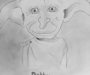 black and white, harry potter, and dobby image
