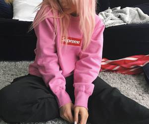 pink, kylie jenner, and supreme image