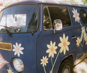 flowers, hippie, and van image