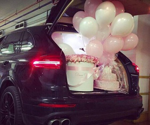 balloons, cake, and car image