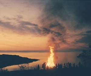 fire, nature, and friends image