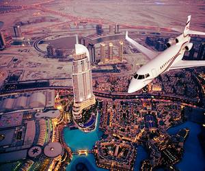 city, Dubai, and plane image