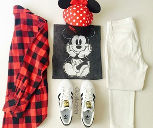 white jeans, adidas sneakers, and minnie mouse hat image