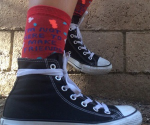 converse, red, and socks image
