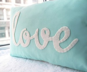 love, pillow, and blue image