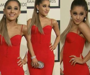 red, ariana grande, and grammy image