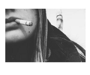 black and white, cigarette, and fire image