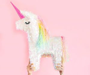 unicorn, pink, and pinata image