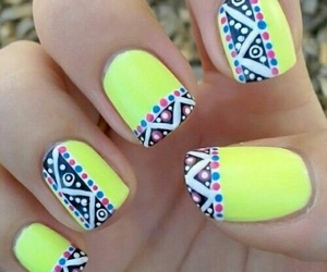 nails, yellow, and neon image