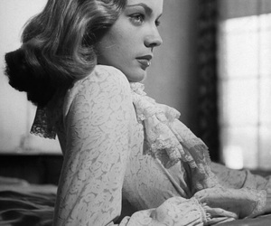 Lauren Bacall, 40s, and black and white image