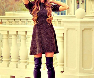 boots, dress, and cute outfit image