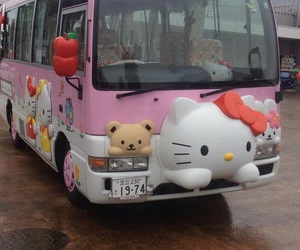 bus, hello kitty, and japan image