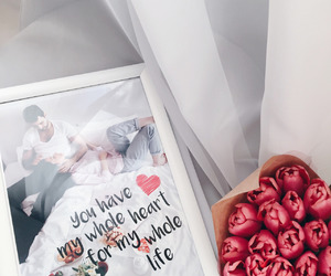 couple, flowers, and gift image
