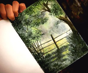 drawing, fence, and forest image