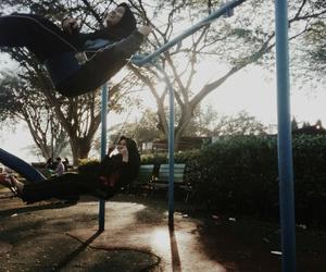 happy, playground, and sun image
