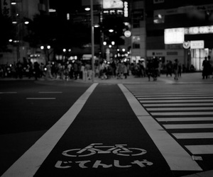 black and white, japan, and road image