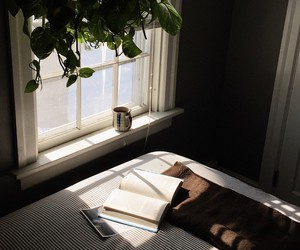 book, window, and bed image