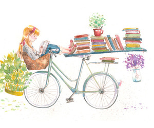 bike, books, and flowers image