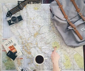 travel, coffee, and map image