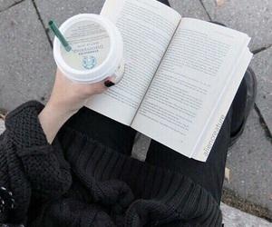 book, starbucks, and black image