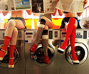 girl, laundry, and legs image