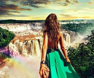 couple, waterfall, and dress image