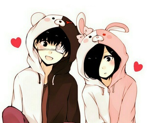 anime girl, couple, and drawing image