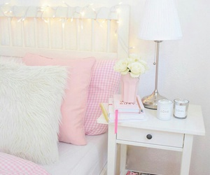 bed, nightstand, and pink image