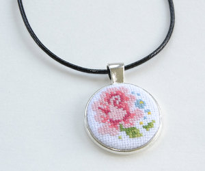 etsy, carnation pink, and flowers necklace image
