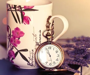 vintage, clock, and cup image