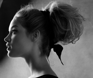 b&w, model, and hair image