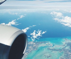 travel, blue, and plane image