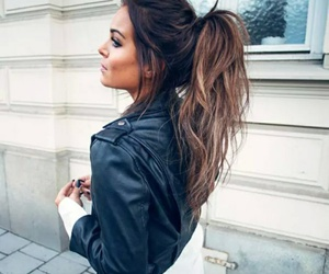 brunette, girl, and ponytail image