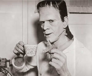 Frankenstein, black and white, and tea image