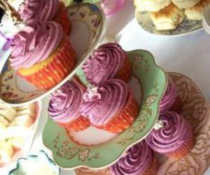 cupcakes, tea party, and purple image
