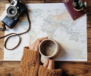 coffee, map, and travel image