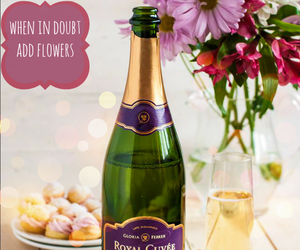 wine, champagne, and flowers image