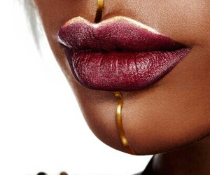 lips, makeup, and gold image