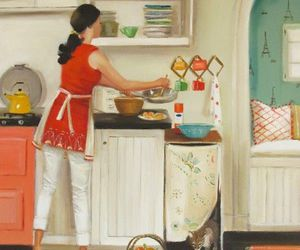cat, cook, and kitchen image