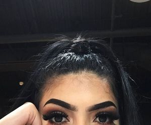 girl, eyebrows, and makeup image