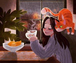 cat, rain, and tea image