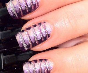 glitter, nail art, and purple image