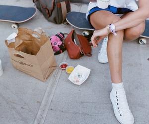 food, girl, and skateboard image