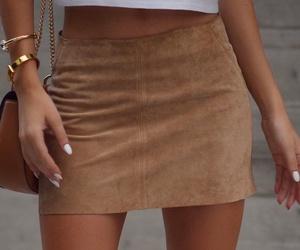 brown, girl, and skirt image