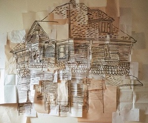art, house, and beige image