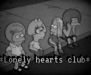 b&w, black and white, and lonely hearts image