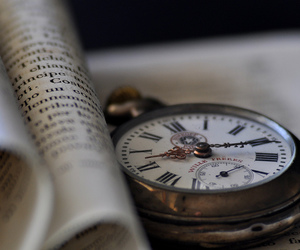 clock, book, and photography image