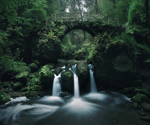 nature, bridge, and waterfall image
